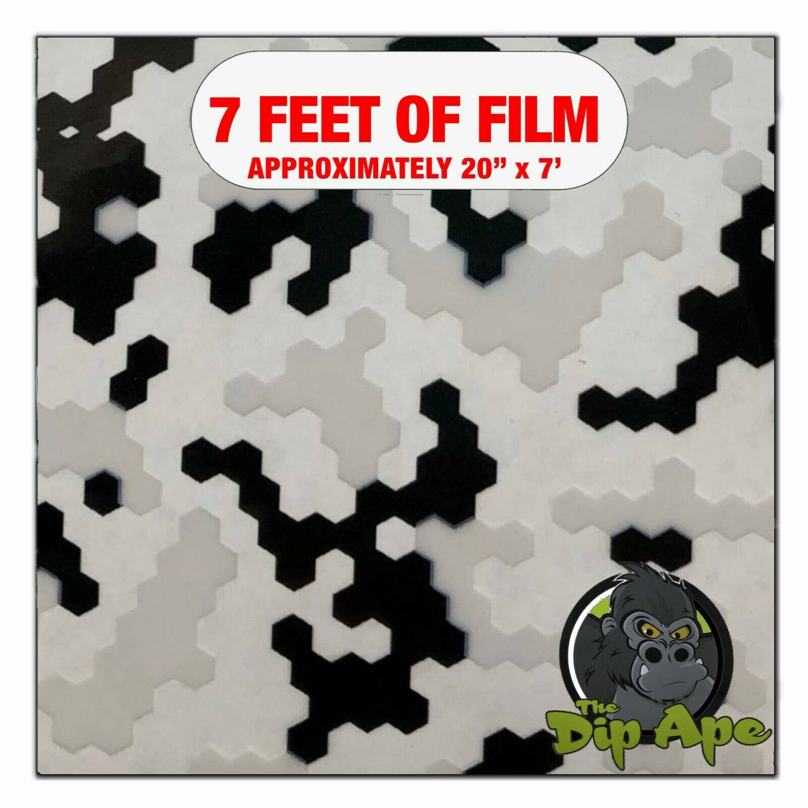Hydrographic Film Black White Clear Pixels Hydro Dipping 7 X 20 Hydro Dip - $13.93
