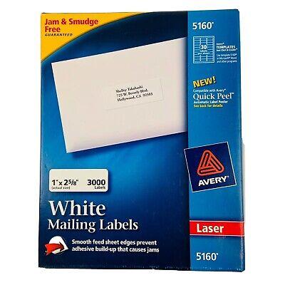 Avery 5160 Easy Peel Mailing Address Labels Laser 1 X 2 58 White 3000box