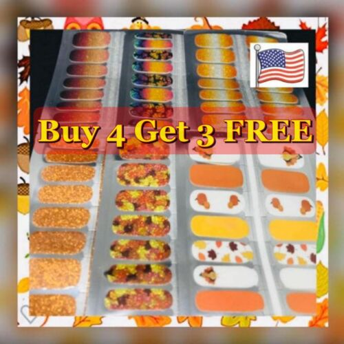 Color Nail Polish Strips Buy 4 Get 3 FREE Exclusive Glitters Fall Halloween