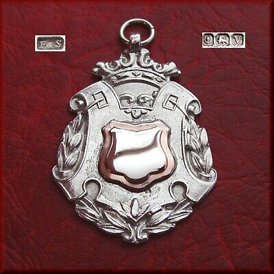 Antique / Vintage solid silver fob medal for a pocket watch chain / pendant 1920