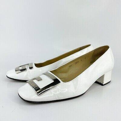 Gucci Vintage Classic White Leather Silver G Logo Low Heel Pumps Loafer Sz 8 B