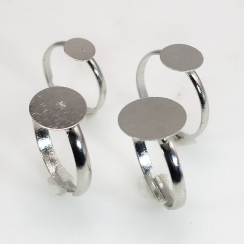 50Pcs Silver Tone Metal Adjustable Ring With Blank Glue On Pad 6mm 8mm 10mm 12mm