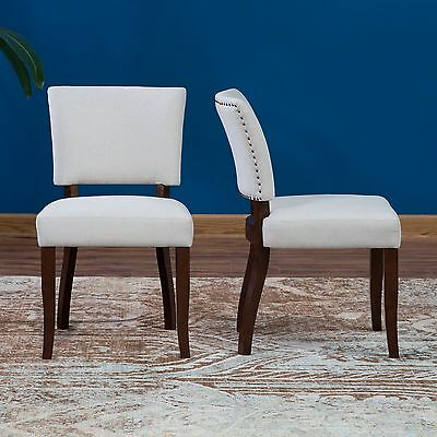 Beige Upholstered 2 Piece Dining Chair Seating Set Home Kitchen Room Furniture 2 Piece Upholstered Seat