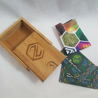 USED - Zen Magnets Storage Sliding Bamboo Box Cloth Card Tool