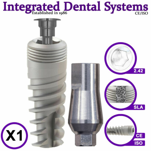 X1 Spiral Dental Implant & Standard Abutment ISO/CE Internal Hexagon System