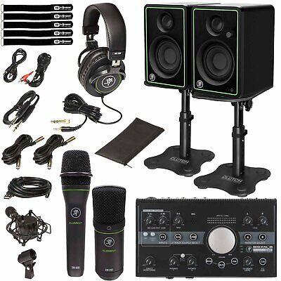Mackie Studio Bundle CR3-X Monitors Mics Audio Recording Interface w Desk Stands