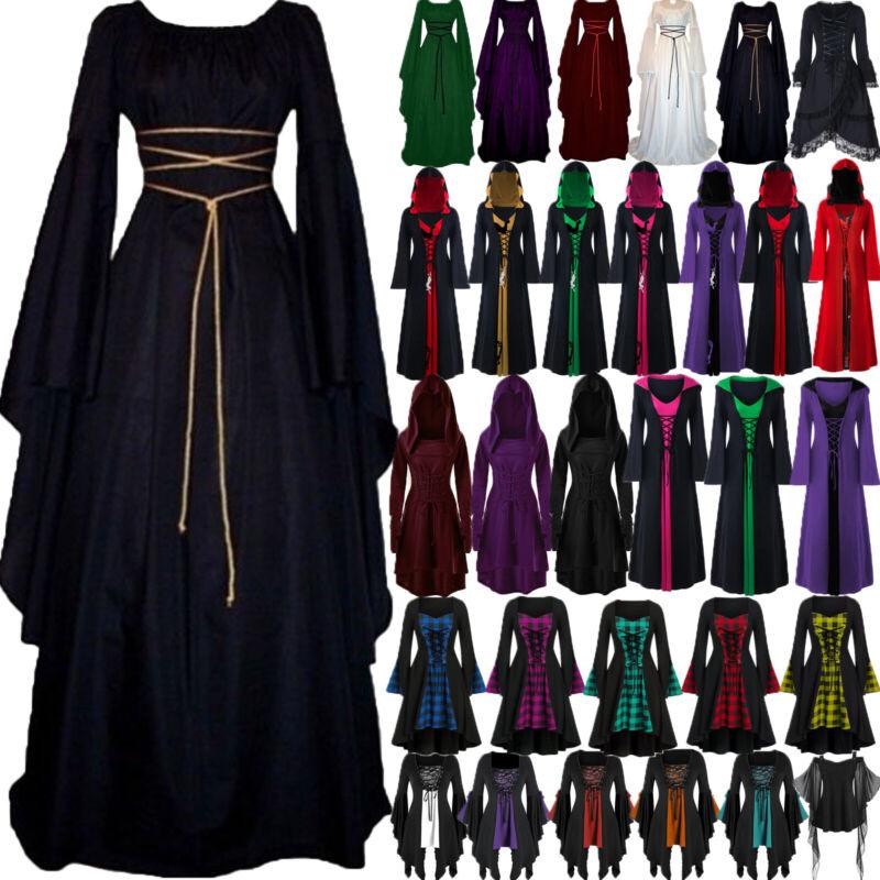 Damen Punk Gothic Karneval Fasching Kostüm Mittelalter Hexe Vampir Party Kleider