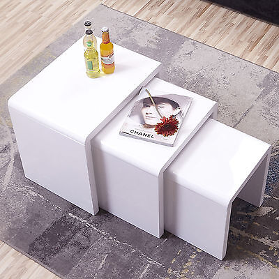 High Gloss White Solid Nest of 3 Coffee Tables MDF SideBoard Modern Furniture