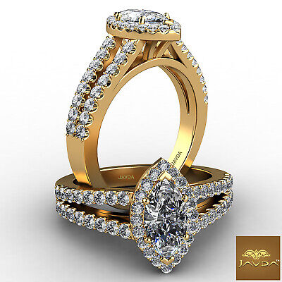 Halo French U Pave Marquise Cut Diamond Engagement Ring GIA Color E VVS2 1.96Ct 4