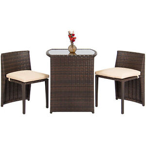 Outdoor Patio Furniture Wicker 3pc Bistro Set Glass Top Table, 2 Chairs   Brown