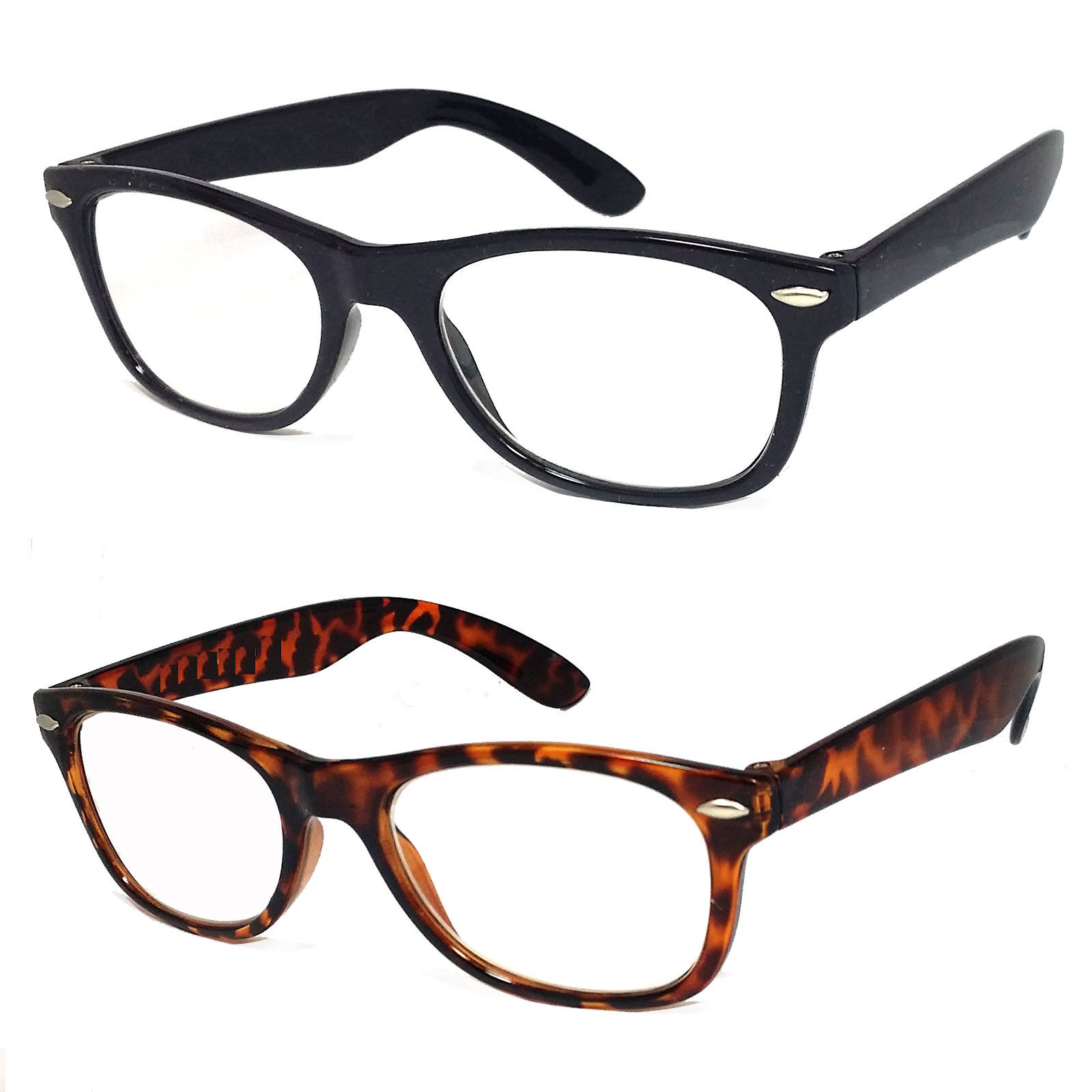 retro small square frame reading glasses clear