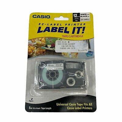 Casio Ez-label Printer Tape Cartridge White Tape W Black Ink 12 Wide New
