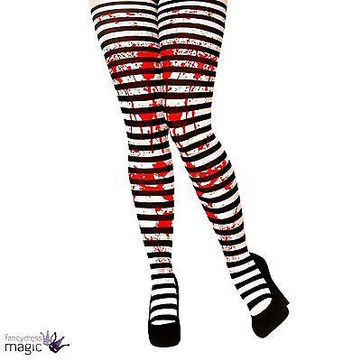 Erwachsene Candystripe gestreift Splatter Halloween Kostüm Strumpfhose