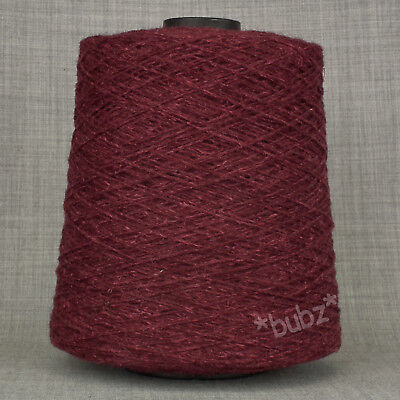 UNIQUE NETTLE WOOL BLEND YARN THICK WEAVING YARN OXBLOOD RED 500g CONE WARP WEFT