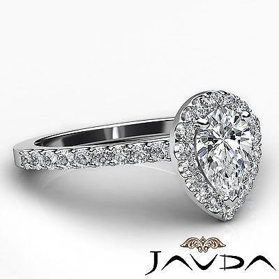 Halo French U Pave Women's Pear Diamond Engagement Wedding Ring GIA G VVS2 1 Ct 2