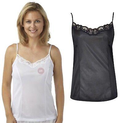 Black Lace Unterhemd Top (Camisole Top Adjustable Straps Cling Resist Lace Trim Black & White Sizes 12-26)