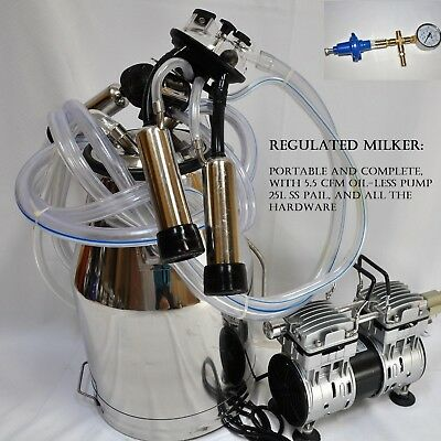 Regulated Complete Cow Bucket Milker Oil-less Vacuum Pump Pulsator Claw Cluster