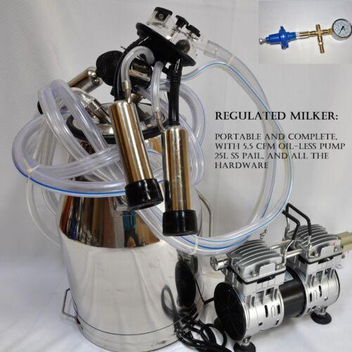 Regulated Complete Cow Bucket Milker OIL-LESS Vacuum Pump Pulsator Claw Cluster