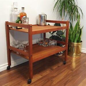 Mcm Danish teak bar cart