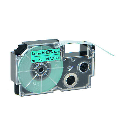 1pk Compatible Casio Xr-12gn Black On Green Label Tape For Ez Kl-120 12mm X 8m