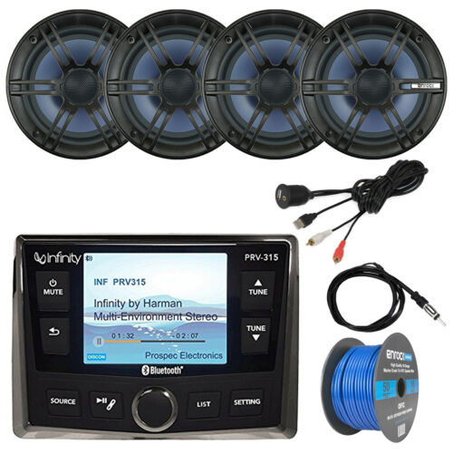 """Bluetooth Stereo, 4x 6.5"""" Speakers, Antenna, USB Aux Interface, 50 FT 16-G Wire"""
