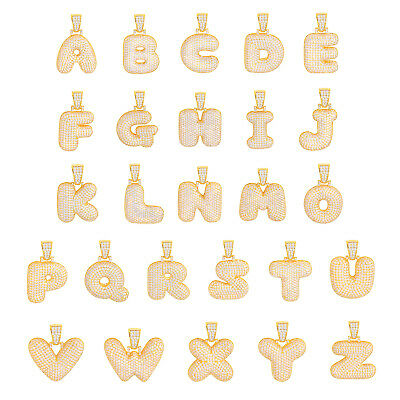 A - Z Initial Bubble Letter Gold Plated Iced CZ Pendant 24