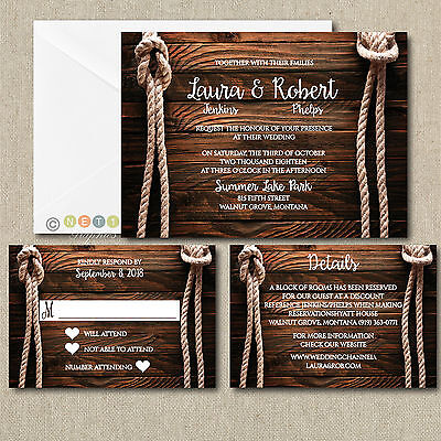 Personalized Wedding Invitations Rustic Rope Knot Invitations with Envelopes ](Personalize Invitations)