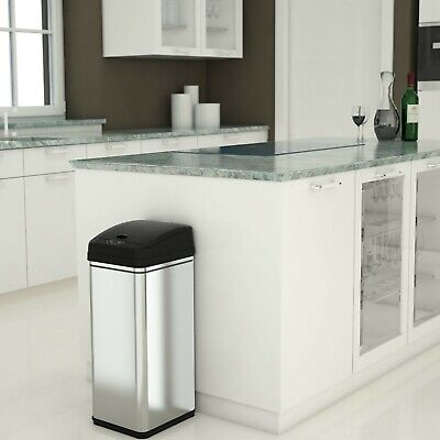 iTouchless 13 Gallon Touchless Sensor Kitchen Trash Can, Stainless Steel - NEW
