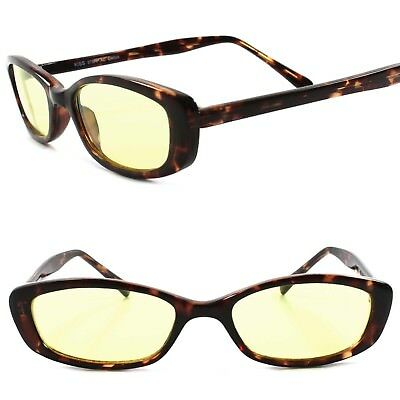 Classic True Vintage 90s Urban Fashion Yellow Lens Tortoise Rectangle Sunglasses