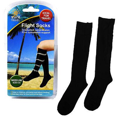 Sure Travel Unisex Men's Women's Compression Flight Socks, Medium UK size 6 - 8
