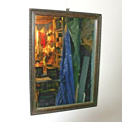 Vintage oak frame wall mirror heavy industrial moulded bead edging gothic