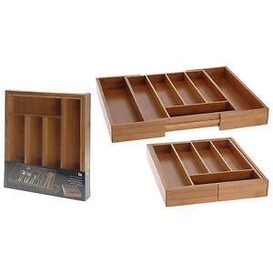 Besteckkasten ausziehbar Besteckeinsatz Bambus Schubladeneinsatz  Holz Schublade