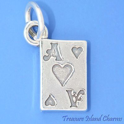 ACE OF HEARTS PLAYING CARD GAMBLING 3D .925 Solid Sterling Silver - Ace Of Hearts Card