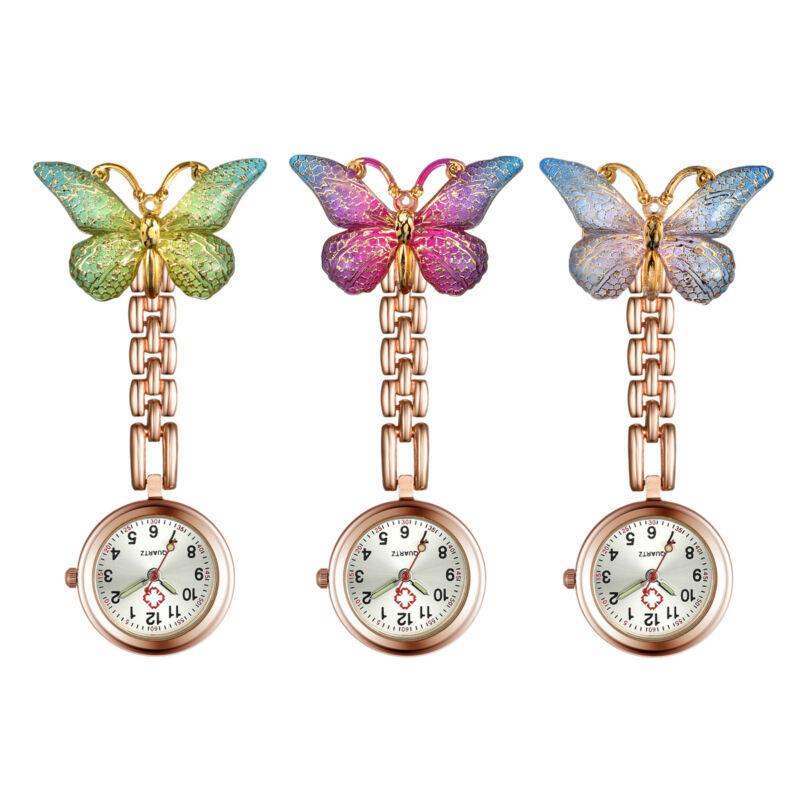 Women Girl Butterfly Nurse Doctor Watch Pin-On Lapel Fob Pocket Badge Watch Gift