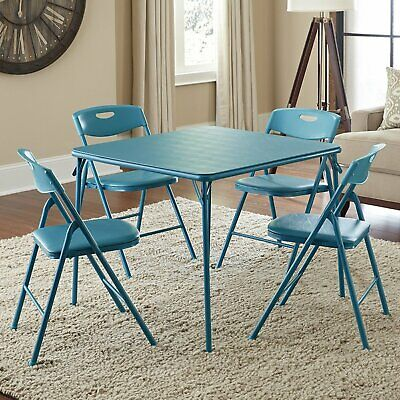 5-Piece Folding Table and Chair Set Card games 4 Chairs Steel Frame Portable US Folding Table Chairs Set