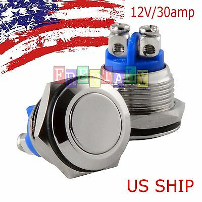 30 Amp Metal Momentary Waterproof Switch 12v16mm 58 Horn Starter Nitrous Button