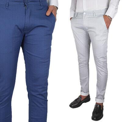 Pantalone Uomo Casual Jeans Slim Fit Chino Righe Elegante Tasche America VEQUE