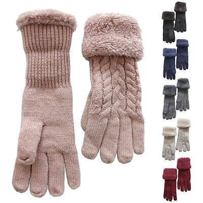 Gloves Woman Knitted Wool Knit Braided Motif Lined Thick Winter -