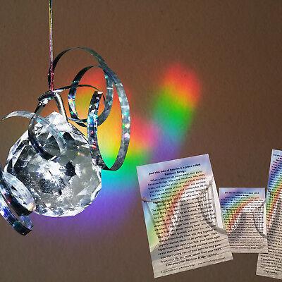 Rainbow Bridge Prism Pet Memorial Set: Suncatcher+Wallet Card+Bookmark+4x6 Poem