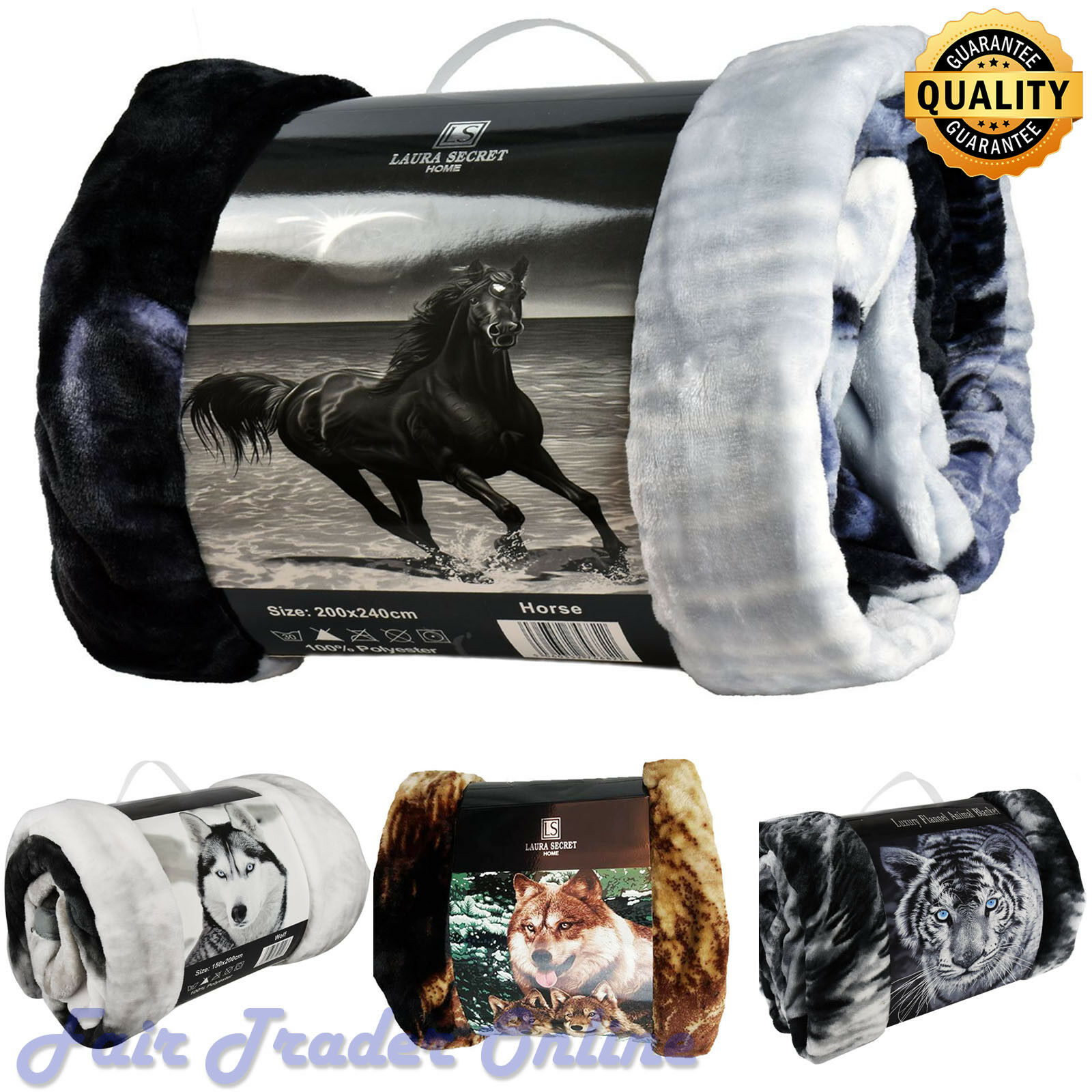 Horse Luxury 3D Faux Fur Sofa Bed Throw Blankets Animal Pattern Throws Xmas Gift