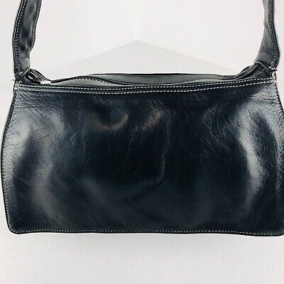 Perlina New York Black Soft Buttery Leather Shoulder Handbag Bag Purse