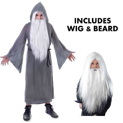 Grey Mens Wizard Cloak Fancy Dress Costume Gandalf Dumbledore Book Week Outfit