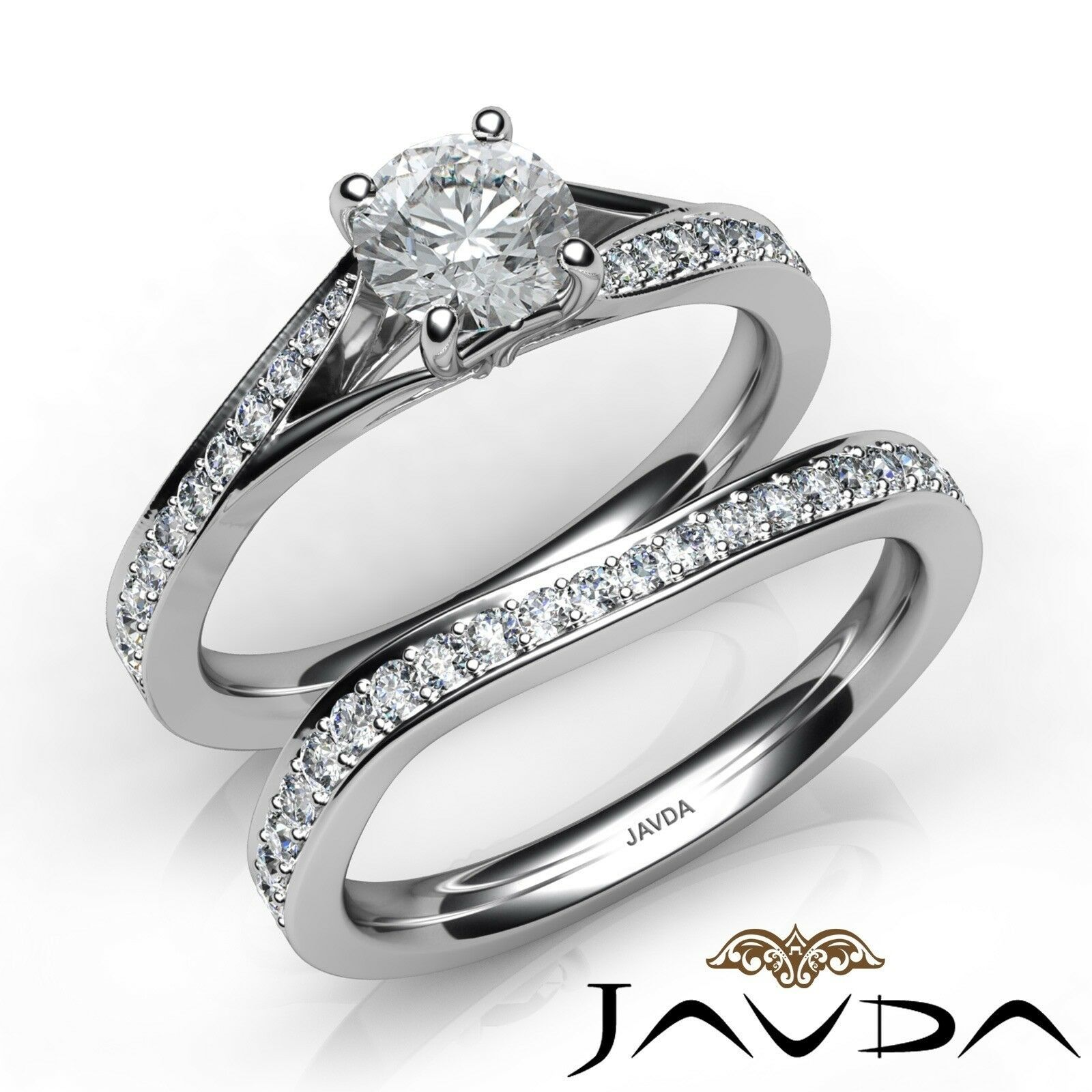 1.44ctw Sidestone Bridal Set Round Diamond Engagement Ring GIA I-SI1 White Gold