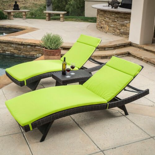 Lakeport Outdoor 3pc Adjustable Chaise Lounge Chair Set Home & Garden