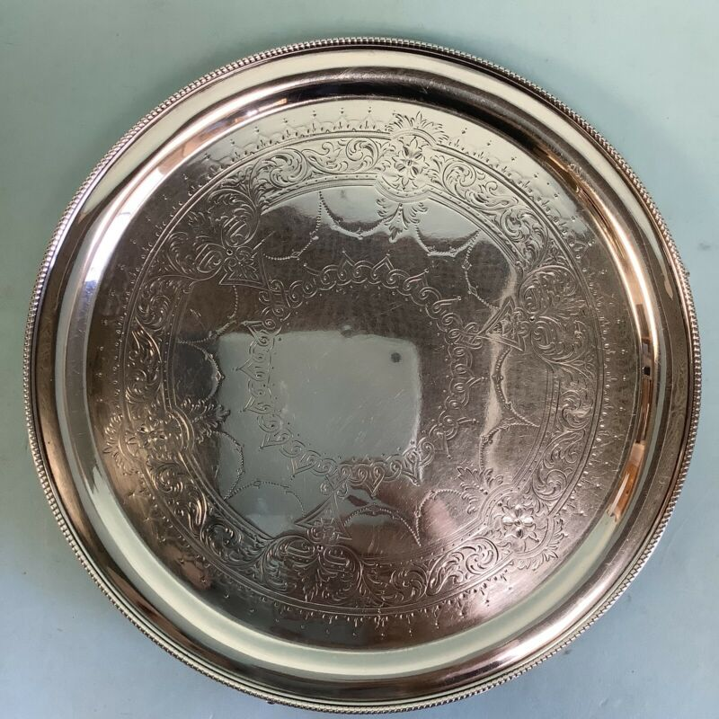"""Sterling Silver Footed Salver Martin, Hall &Co. London 1874 8.25"""" Diameter"""