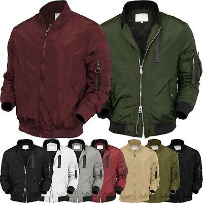 Mens BOMBER Jacket  MA-1 Windbreaker Active Fashion Slim Biker Padded Light