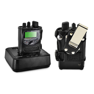 Unication G1 Voice Pager Fire 2 Way Radio Black Leather Case Metal Belt Clip Voice Pager