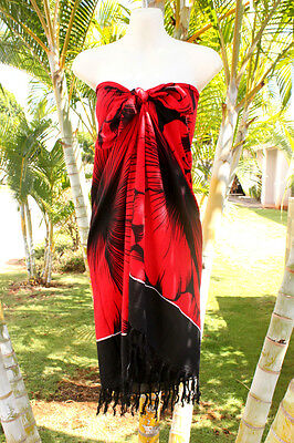 Sarong Hawaii Hawaiian Pareo Cruise Luau Beach Wrap Dress   Red Giant Hibiscus