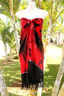 Sarong Hawaii Hawaiian Pareo Cruise Luau Beach Wrap Dress   Red Giant Hibiscus