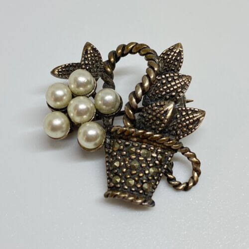 Vintage Sterling Silver 925 Pearl Marcasite Small Floral Basket Brooch Pin